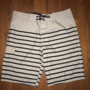 Old Navy gray and navy blue long swim trunks